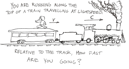 You are running along the top of a train travelling at lightspeed.  Relative to the track, how fast are you going?